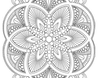 abstract mandala coloring page for adults digital download stress relief relaxing - Relaxing Coloring Pages