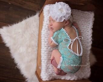 Newborn photo prop, Baby photo prop, Newborn romper, Baby romper, lace baby romper, newborn lace romper, baby romper set, newborn romper set