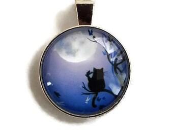 Black Cat - Glass Cabochon Pendant - Silver Alloy (011)