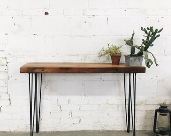 Rustic Industrial Reclaimed Console Table with Hairpin Legs