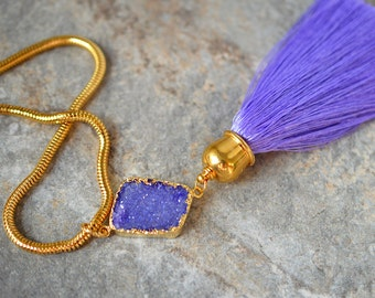 Druzy tassel necklace Bright purple silk tassel pendant on gold chain Raw crystal geode Gypsy necklace Colorful summer Bohemian jewelry