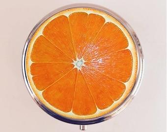 Orange Slice Pill Box Case Pillbox Holder Stash Trinket Box Pop Art Fruit