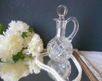 Oil and vinegar cruet , clear glass, with stopper, hand blown, antique glass