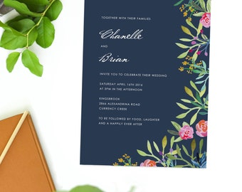 Navy and Pink Forest Flowers Wedding Invitations Green Yellow Wedding Invites Abstract Foliage Native Fauna Floral Foliage Buds Leaves Leaf