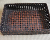 Woven bamboo basket tray, handcrafted, vintage Japanese