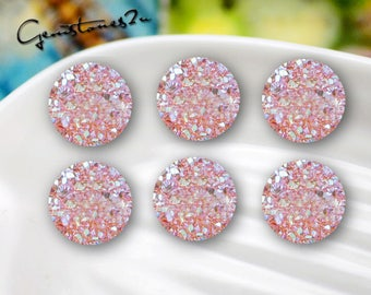 20pcs 10mm / 12mm Druzy Cabochons Faux Druzies Cabochon Resin Kawaii Glitter Cabs Jewelry Findings Embellishments Craft Supplies ZY24