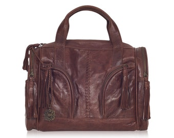 SALE. Drifter.. Brown leather bag / travel bag / overnight weekender / leather weekender  / leather duffel bag.