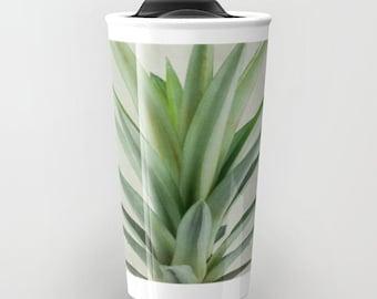 Ceramic Travel Mug With Lid | Pineapple Print Travel Mug | Tea Mug | Stainless Steel Mug For Travel | Unique Hostess Gift | Tropical Art