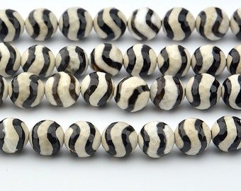 Faceted Dyed Agate Beads, Black Wave, 10mm Round - 15 inch strand - eGF-AG099-10