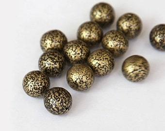 Antique Gold Czech Glass Beads, 10mm Round Druk - 25 pcs - e70006-10r
