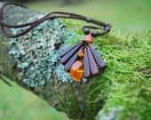 Spring Flower Plum Wood Amber Necklace Pendant, Nature Eco Friendly Wooden Necklace, Woodland Rustic Amber Pendant, Boho Hippie Wood Pendant
