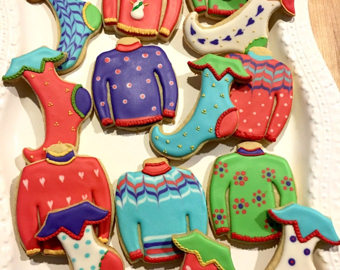 1 Dozen  Christmas Ugly Sweater Cookies-Cookie Favors, wedding. bridesmaid gifts