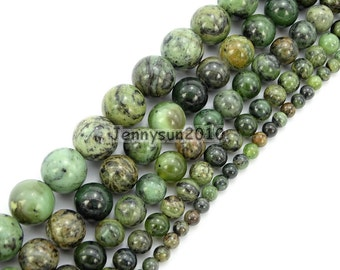 """Natural Dendrite Green Jade Gemstone Round Beads 15.5"""" 6mm 8mm 10mm 12mm for Jewelry Making Crafts"""