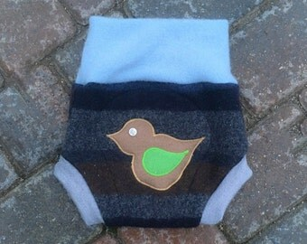 Cloth Diaper Cover, Wool Soaker, Shorties, Cloth Nappy Cover - Striped with a Bird Applique - Size Medium