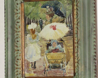 Charming Impressionist Walk in the Park Framed in Carved Verdigris Gilt Stand or Hang Mother, Big Sister, Bany in Pram