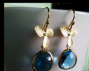 Gold Orchid Flower with Sapphire Drop Earrings - bridesmaid gifts,Wedding jewelry,flower girl, Orchid earrings, Navy dangle