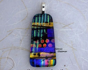 Dichroic Glass Pendant Jewelry Cabochon fused 001