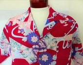 aloha vintage 70's Tamare burgundy red hawaiian shirt pastel pink purple sage peony flower japanese style print big collar camp shirt XL