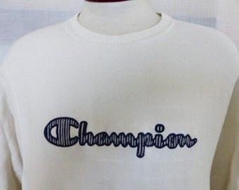 vintage 90's Champion ivory white reverse weave graphic sweatshirt crew neck embroidered navy blue white stripe logo pullover jumper medium