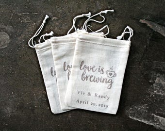 Personalized coffee wedding favor bags, muslin, 2x4. Set of 25. Hand stamped. Love is Brewing with coffee cup design in brown.