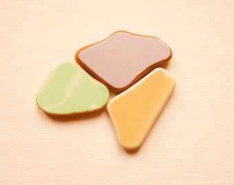Painted Terracotta Pieces,Solid colors, Mint Green/Lavender Lilac/Yellow  Sea Pottery Lot, Pendant Sized  Mosaic Pieces