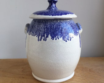 Large lidded cookie jar (or vase), good for sugar, flour, or treasures in bone white and cobalt blue (FREE GIFT INCLUDED)