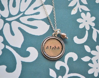 Handwriting Jewelry, Custom Hand Stamped, Hand Lettering, Hand Stamped Jewelry, Hand Stamped Necklace, Hand Stamped, Aloha, Hawaii, Pearl