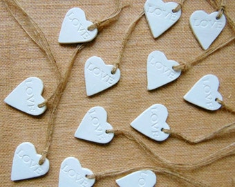 Ceramic Hearts, 50 Wedding Favor Hearts, Clay Hearts Tags, Love Hearts