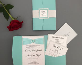 Teal wedding invitation - Robins egg wedding invitation suite - Aqua Wedding Invitation with rhinestone slider and ribbon - mint wedding
