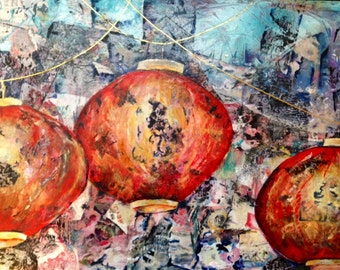 Original art, mixed media, acrylic, contemporary, Asian, Oriental, Far East, Chinese lanterns, red patterned lights