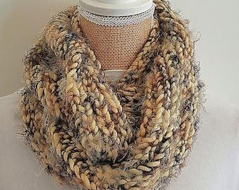 Brown infinity scarf, winter scarf , circle scarf, chunky scarf, women scarf,crochet scarf, knit infinity scarf, cute scarf, large scarf