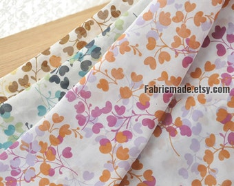 Vintage Leaves Cotton Fabric, Red Blue Brown Floral Cotton Fabric, Vintage Style Cotton - 1/2 Yard