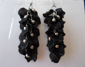 Layered Black Petals Dangle Earrings with Silver Tone beads