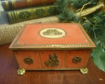Vintage Candy Container From Western Germany, Candy Tin With Red Velvet