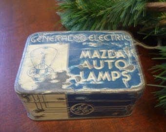 Vintage General Electric Mazda Auto Lamps Tin Can   (T)