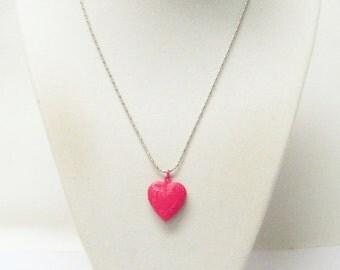 Fuchsia Photo Heart Locket Pendant Necklace