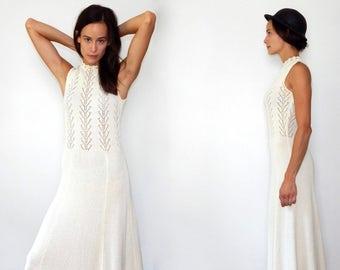 wedding dress boho vintage white dress high beck dress 70s wedding hippie wedding dress white knit dress unique wedding dress