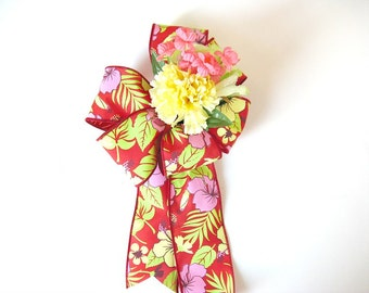 Gift wrap bow, Large tropical birthday bow, Bow for anniversaries, Gift basket bow, Bow for wreaths, Floral gift bow, Home decor (HB105)