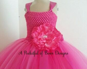 Pink Flower Girl Tutu Dress, Girls Pink Ball Gown