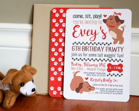 Puppy party invitation puppy invitation come sit stay dog birthday il570xn filmwisefo Gallery