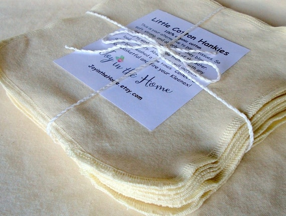 12 perfect little cotton hankies - organic - 7x7 inches - natural color