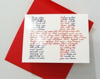 Hillary Clinton - Art Notecard - Women Throughout History -  by Bonnie Fillenwarth