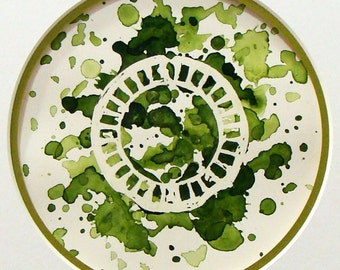Green Birth Control Artwork - Original Watercolor Splatter Painting -  Matted and Ready to Frame