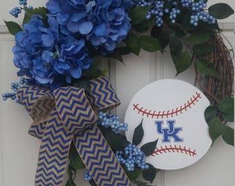 University of Kentucky Wreath, Kentucky Wildcats Wreath, NCAA Baseball Wreath, UK Wildcats Wreath, Kentucky Baseball, Baseball Wreath