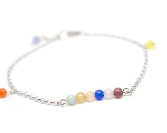 Rainbow Bracelet Sterling Silver / Colors, Colorful, Fancy, Modern, Contemporary, Light, Comfortable, Chain, Round