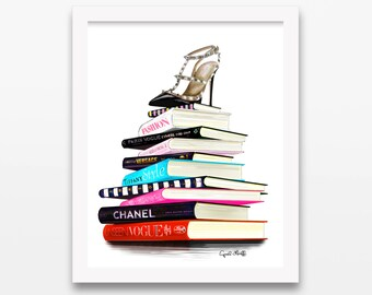 Valentino and Books Print | Chanel, Vogue, Dior, Tiffany, Style, Fashion Illustration, Drawing, Present, Wall Art, Custom Illustration