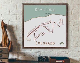 Keystone Colorado Ski Trail Map Print or Canvas. Colorado Ski Map. Keystone map. Keystone co. ski print. colorado decor. ski art. gift.