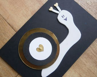 Snail greetings card. Individually handmade gold snail card for any occasion