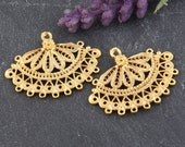 Gold Plated Filigree Fan Shaped Chandelier Connector, 2 pieces // GC-448