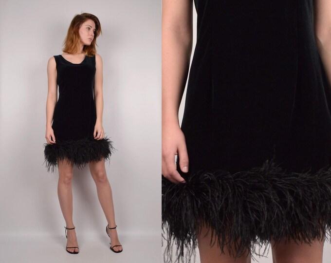 90's Black Velvet Cocktail Dress w/ Feather Hem